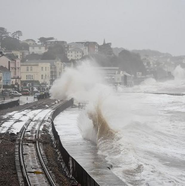 Romsey Advertiser: Damage to the railway in Dawlish, Devon, reduced train punctuality