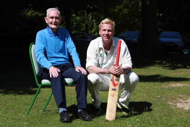 Ray Flood with Alan Mullally at Swan Green CC last year
