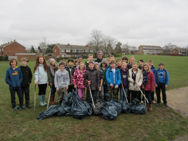 Stroud School pupils with their haul of litter at Woodley Rec