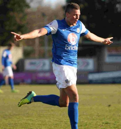 Ben Wright celebrates his hat-trick clincher