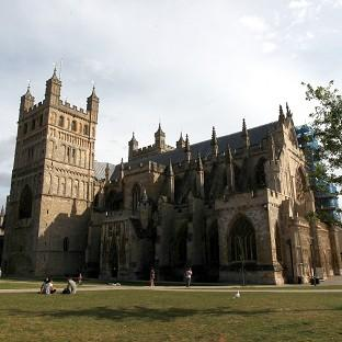 The defendant said he walked into Exeter Cathedral to pray before being overcome by the urge to