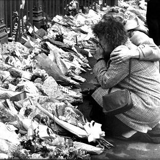 Tributes left for victims of the 1989 Hillsborough disaster