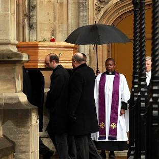 Romsey Advertiser: Tony Benn's coffin arrives at the Palace of Westminster to be placed in the Chapel of St Mary Undercroft.