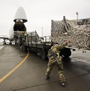 Equipment being loaded into a Boeing 747 headed for the UK after being recovered from closed down UK opera