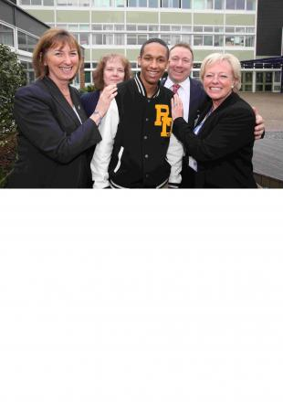 Sam Mangoro with some of the Mountbatten School staff who saved his life, from left, Janet Barrett, Lyn Lovell, Mark Chance and Heather McIlroy.