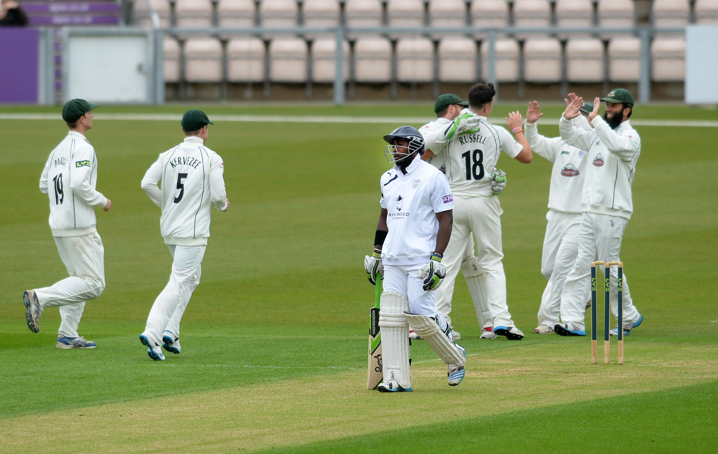 Worcestershire celebrate the dismissal of Michael Carberry (Pic: Robin Jones)