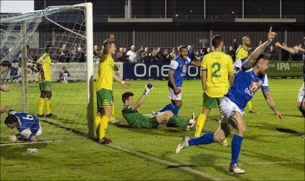 A late Lee Peacock goal puts Eastleigh within a point of the title. Picture by Ken Dear