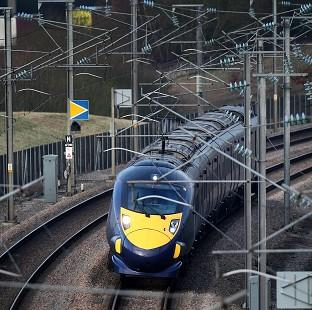 A Hitachi train on the Channel Tunnel line