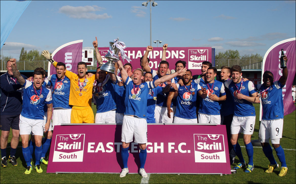 Eastleigh celebrate their promotion to the Conference Premier