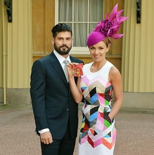 Katherine Jenkins with partner Andrew Levitas after she received her OBE from Buckingham Palace