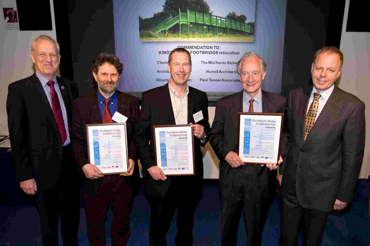 L to R: Geoff French, chairman Institute of Civil Engineers, Colin Chambers MD of Mid Hants Railway, Stephen Hurrell of Hurrell Architecture, David Snow, Mid Hants Railway project leader and Terry Girdler, chairman of judges