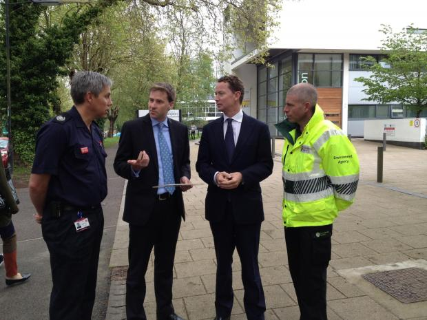 left to right: Dave Turner, group manager for Hampshire Fire and Rescue, Steve Brine MP for Winchester and Chandler's Ford, Government Minister Greg Barker and Mike O'Neill, operations manager at the Environment Agency at Park Avenue