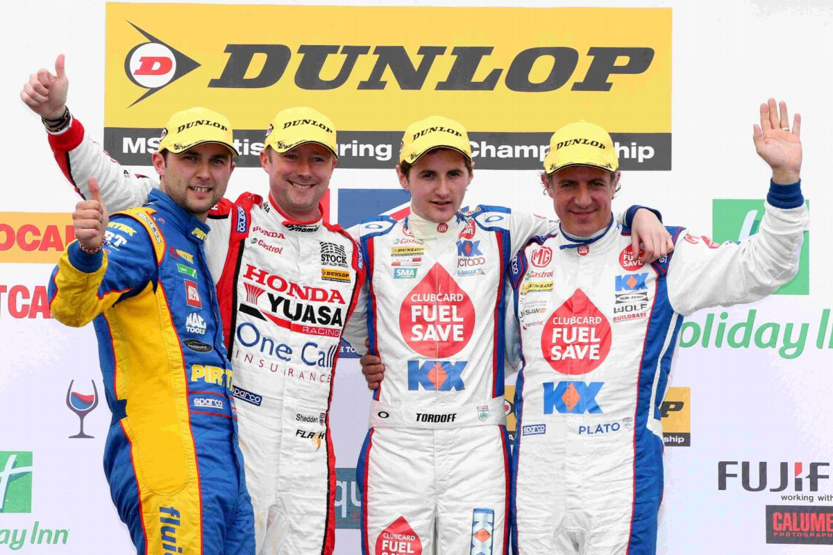 From left:  Andrew Jordan, Gordon Shedden, Sam Tordoff and Jason Plato