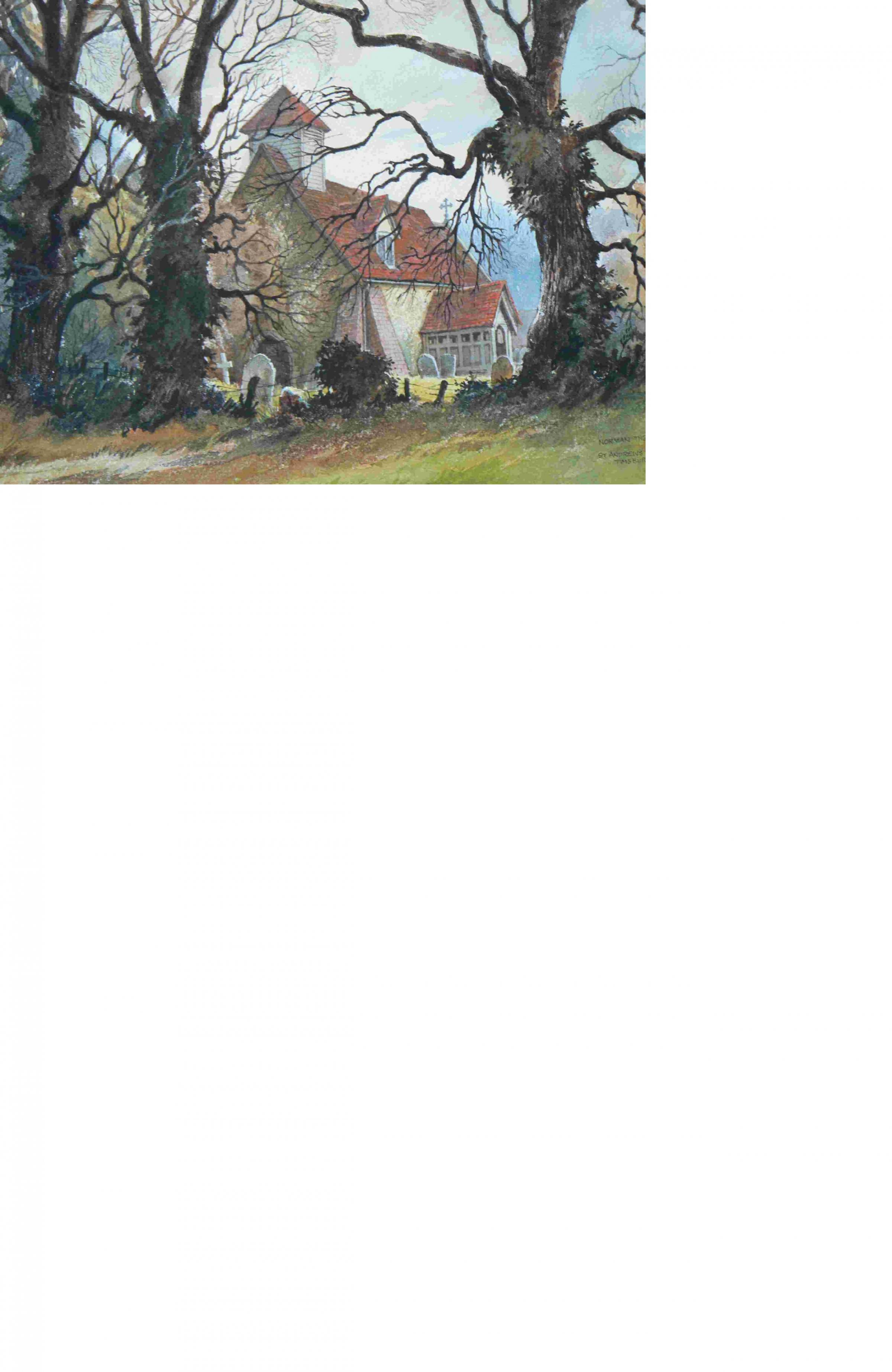 Thelwell's paintingof St Andrew's Church, Timsbury has never been published before