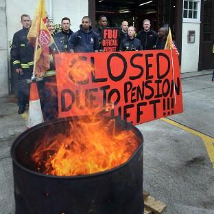 Euston fire station in central London where firefighters were staging a five hour strike in a row over pensions