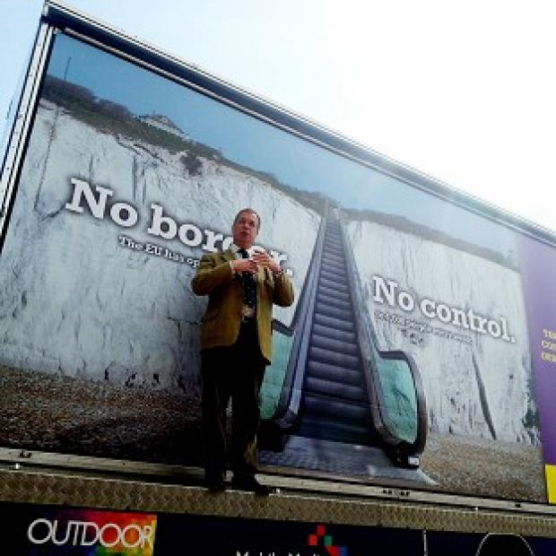 Romsey Advertiser: Ukip leader Nigel Farage launches Ukip's billboard campaign for the Euro-elections in Dover, Kent