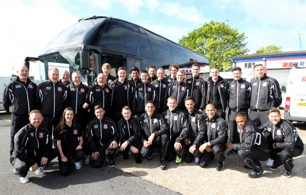 Sholing's squad prepare to leave from BSA Regal's offices in Southampton this morning.
