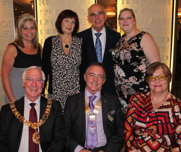 Romsey Advertiser: back row: Winchester Rotarian Robert Parsons with midwives Nikki Brown, Birgit Gray and Laura Aspinall; front row: