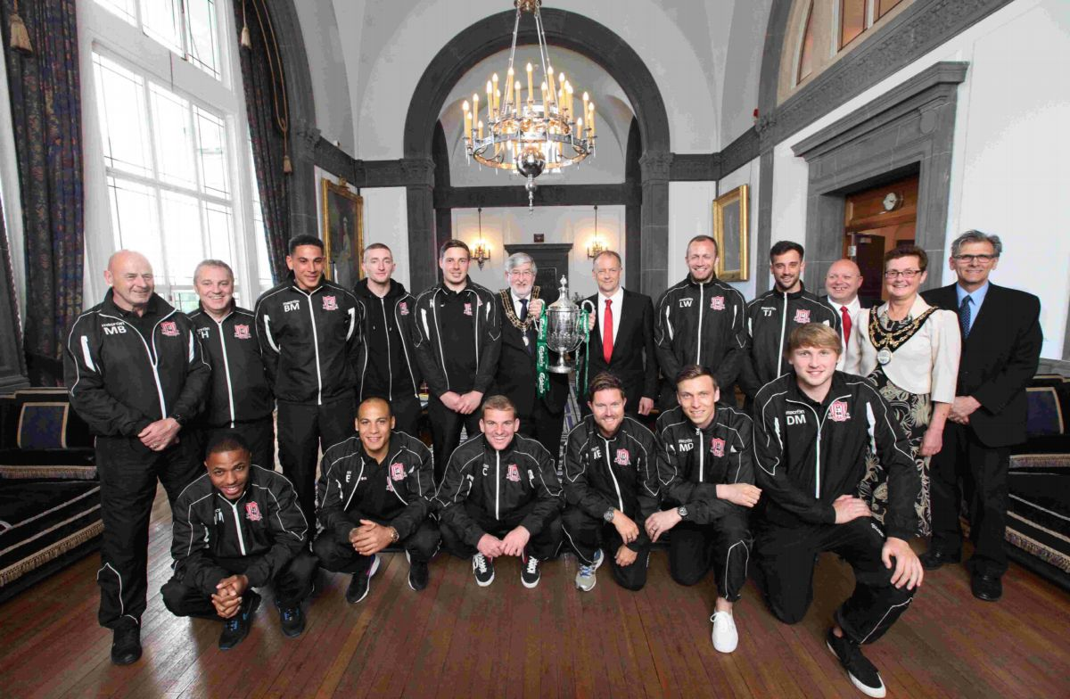 Wembley heroes Sholing at their reception yesterday