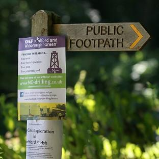 Anti-fracking notices in Wisborough Green, West Sussex