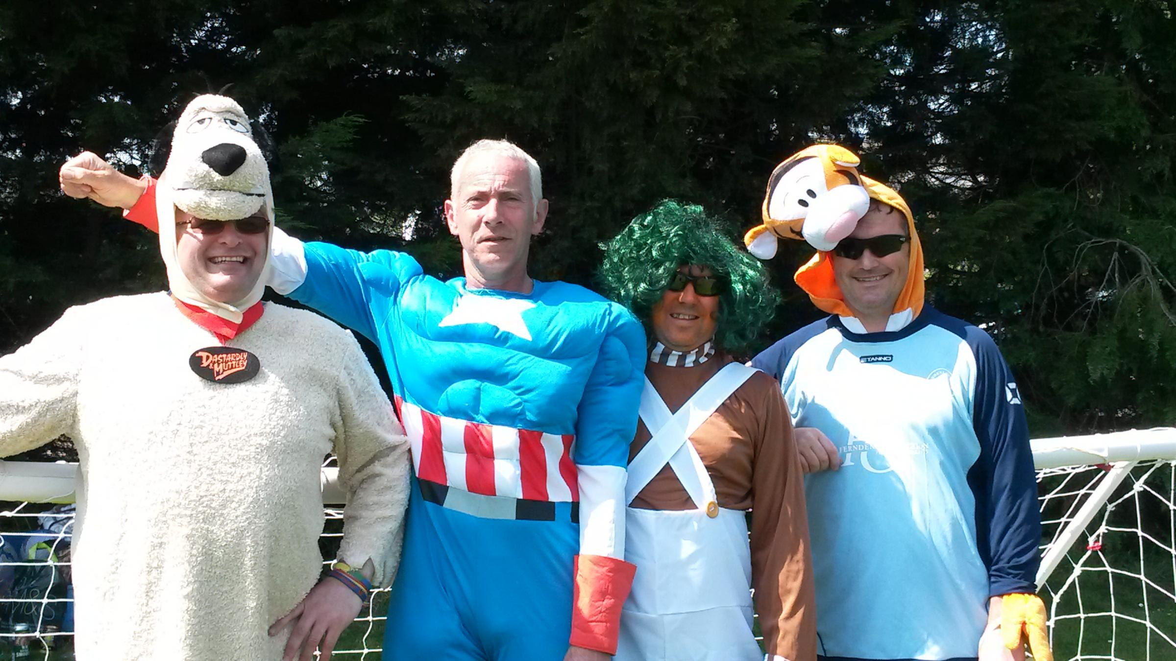 North Baddesley Vets football team members donned fancy dress for the penalty shoot-out competition