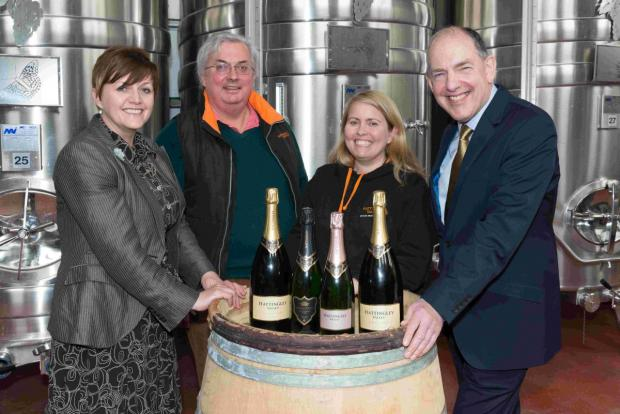 (From left to right: Tracy Nash, Commercial Manager, Hampshire Fare, Simon Robinson, Chairman, Hattingley Valley, Emma Rice, Winemaker, Hattingley Valley, and Mike Wright, Chairman, Hampshire Fare)