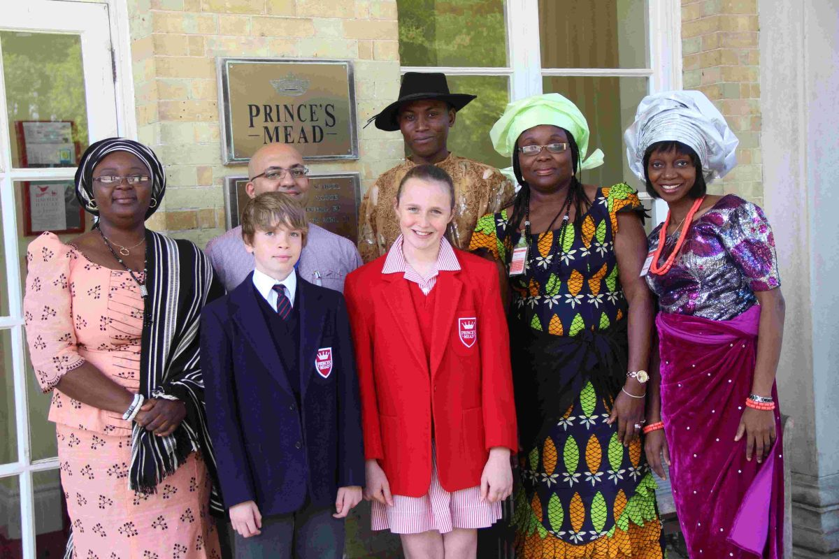 Prince's Mead's Nigerian visitors with head girl and boy Lucy McMillan and Archie Stokes