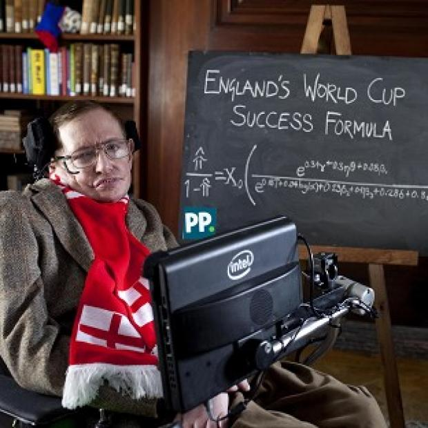 Romsey Advertiser: Professor Stephen Hawking unveils a new scientific formula to predict the chances of England succeeding in the World Cup, in Cambridge.