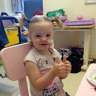 Sienna Riley gives a thumbs up to the memory of Stephen Sutton