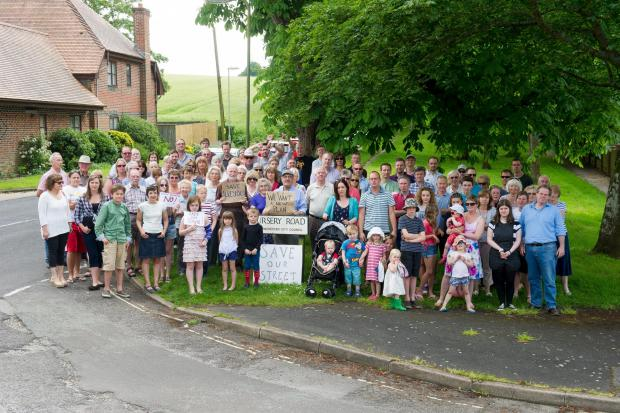 Romsey Advertiser: Protesters from the Nursery Road Residents Group meet to protest against the proposed development at Sun Lane, Alresford.