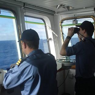 Romsey Advertiser: Crew on board survey ship HMS Echo in the southern Indian Ocean helping in the search for the missing Malaysia Airlines flight MH370 (Ministry of Defence/PA)