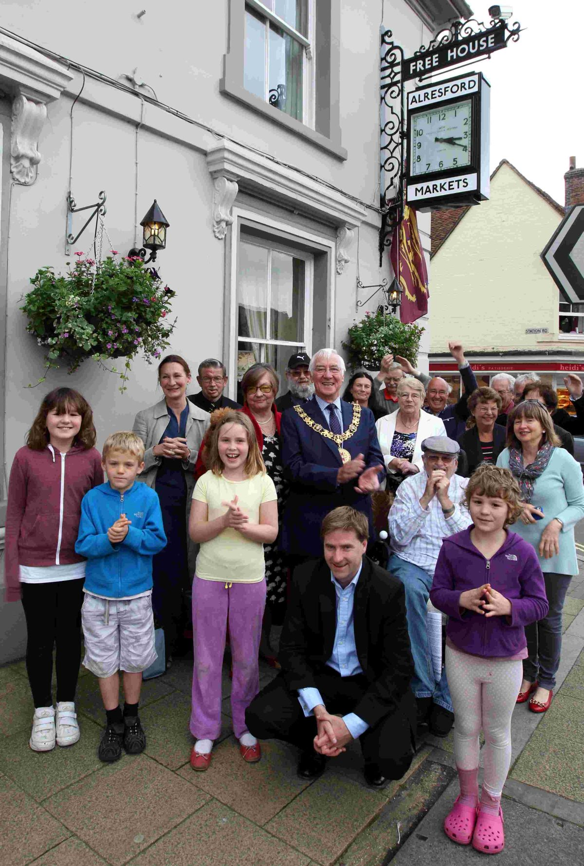 Winchester MP Steve Brine and Mayor Cllr Ernie Jeffs and trustees at the clock's unveiling