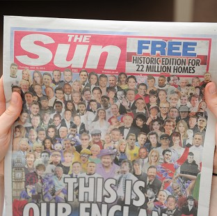 The special edition of The Sun was distributed free to mark the start of England's World Cup campaign