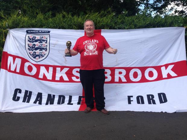 Tim Murray and his flag 'Monks Brook'