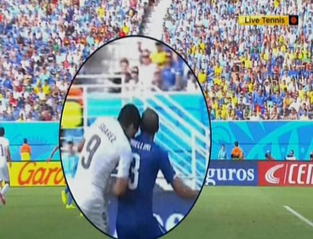 Luis Suarez is facing a long suspension for this incident. Picture: BBC.