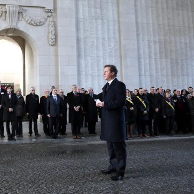 Romsey Advertiser: David Cameron in Ypres last December - he has returned with other EU leaders to mark the 100th anniversary of the First World War (AP)
