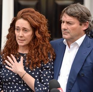 Romsey Advertiser: Rebekah Brooks and her husband Charlie Brooks make a statement outside their property in central London, following their acquittal in the hacking trial