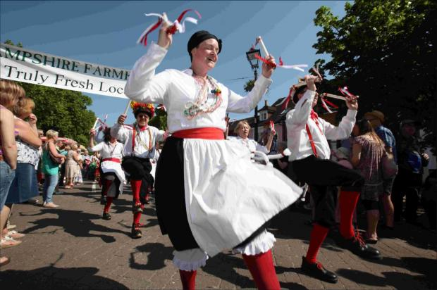Basingclog Morris in the festival cavalcade at this year's Watercress Festival