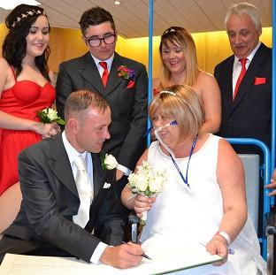 Romsey Advertiser: The wedding of Joann Howells and Neil Ward at Worthing Hospital (Western Sussex Hospital NHS Foundation Trust/PA)