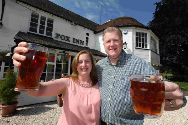 Pete and Amanda Boxall at the Fox Inn in Bramdean, near Alresford