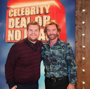 James Corden with Noel Edmonds on Channel 4's Deal Or No Deal (Endemol UK/PA)