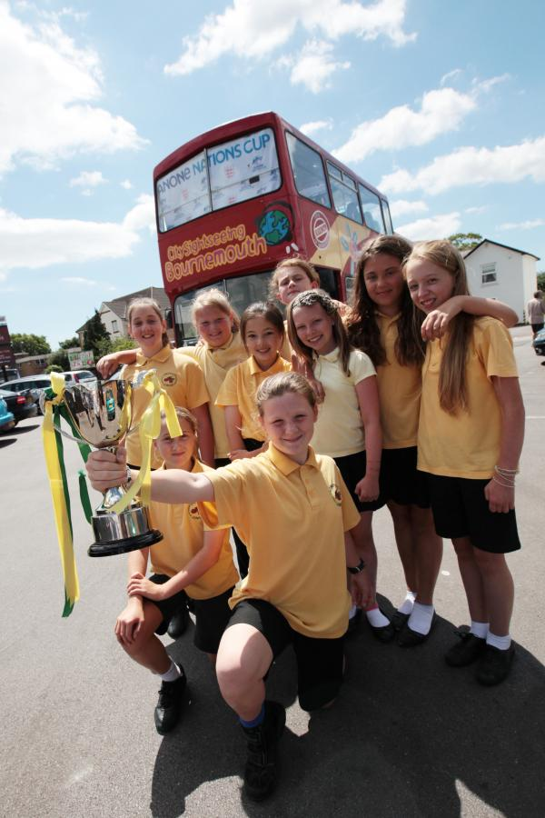 Open bus top tour for Orchard School's national girls champions