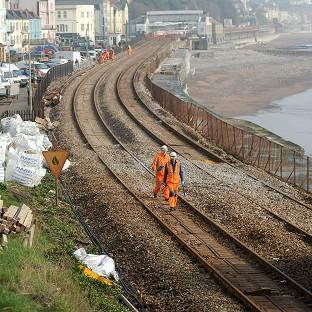 Engineers from Network Rail carry out repair work to the Great Western Main Line in Dawli