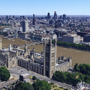 The Houses of Parliament as Google Maps launches 3D mapping of the capital city, using 45-degree aerial imagery.