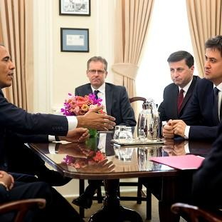 US President Barack Obama meets Ed Miliband in the White House