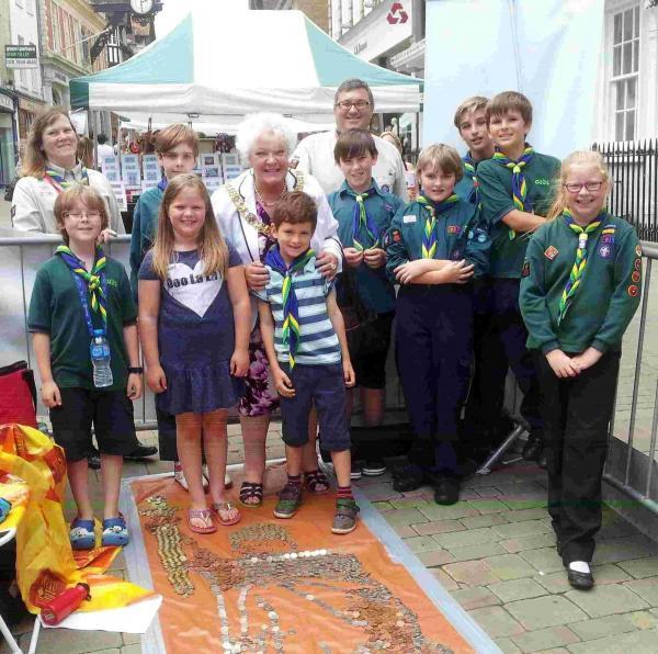 The mayor with members of 1st Winchester group on Saturday