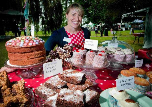 Nicola Hollyer, of Martha's Tea Party, with her colourful cakes