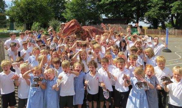 Velma the velociraptor visited Broughton Primary School after one of its students won a prize to meet her