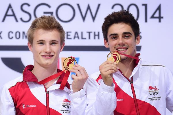 Chris Mears (right) and Jack Laugher celebrate gold