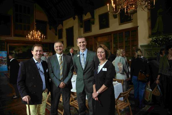 Pictured: Great Wessex Dinners launch event at Melbury, home of Charlotte Townshend. L-R: Russell Lucas-Rowe, Chris Robinson, Chief Executive of Naomi House & Jacksplace, Martin Edwards, Chief Executive of Julia's House, and Charlotte Townshend